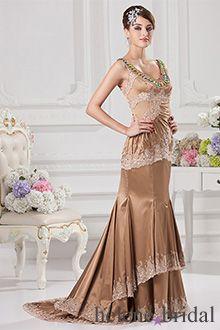 d12b278764 Mermaid   Trumpet V-Neck Long   Floor-Length Elastic Silk-like Satin Prom  Dress - Style 8265