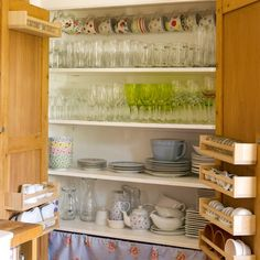 Larder-style cupboard - like the door pockets for pains-in-the-proverbial-to-store things, like egg cups