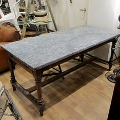 Timber Kitchen Table with Blue Stone Top | quintessential duckeggBLUE