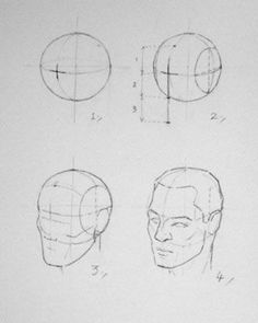 Constructing the head from a sphere, by Andrew Loomis – Drawing Techniques Drawing Heads, Guy Drawing, Life Drawing, Drawing People, Figure Drawing, Drawing Reference, Drawing Sketches, Painting & Drawing, Art Drawings