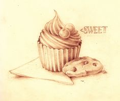 Cupcake and Cookies in Pencils by MVRH.deviantart.com on @deviantART