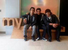 Piero Barone, Gianluca Ginoble & Ignazio Boschetto at Myspace Office. Il Volo.