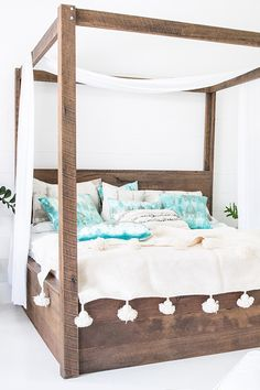 $3,000.00 The four Poster Bed symbolises romance, indulgence and luxury, exactly what we wanted to achieve when designing The Majestic. Handcrafted for those with an etravagent nature and a love for beauty. Adorn it with soft floating drapes to create a sleeping space that is pure heaven!