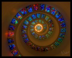stained glass spiral by ~MichaelHawkins  Photography / Architecture / Interior	©2007-2012 ~MichaelHawkins.  A church in the heart of downtown Dallas.