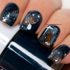 I think galaxy manicures are so pretty and easy to do but I've only done them a few times before, mostly for challenges and I can't figure out why :D. The base of my galaxy is Blue Planet which… Nail Polish Online, Galaxy Nails, Nail Time, Nails Only, Manicure And Pedicure, Pedicures, Flower Nail Art, Nail Polish Collection, Nail Art Hacks