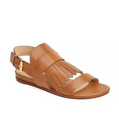 Pour la Victoire Rowan Leather Fringe Sandals in Cognac