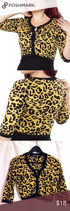 Sourpuss cropped yellow leopard cardigan Only worn once or twice, perfect condition. Soft fabric with some stretch. 10% off on 2+ item bundles and offers welcome! 💖 Sourpuss Sweaters Cardigans