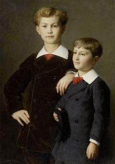Die Söhne Chrétien, Paris, 1880 by Albert Anker (Swiss 1831-1910)
