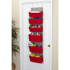 Over the door organization gets a bright boost with Household Essentials 6-Pouch Pocket Pantry and Closet Organizer. It makes grab-and-go sorting and organization simple and efficient thanks to its easy-access pockets and outward tapered design. And its narrow footprint (just 15 inches wide) means it fits on narrow linen closet doors too!). With hooks for residential (1.5 inches deep) and commercial (2 inches deep) door, its a versatile storage solution. Each storage pocket is narrower at… Purse Storage, Storage Hooks, Door Storage, Storage Baskets, Extra Storage, Over The Door Organizer, Hanging Organizer, Pocket Organizer, Linen Closet Organization