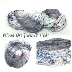 Where the Sidewalk Ends is a striping yarn that will make stripes of light gray alternated with speckles of blue and burgundy. Variations can occur between skeins since they are all dyed one by one.  It's recommended that you wash your finish item by hand and lay flat to dry. This yarn was dyed using professional acid dyes. Although I rinse my skeins well, some bleeding may occur.  I try my best to portray colors accurately. Colors on computer monitors and mobile devices may...