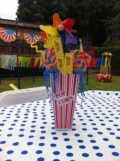 centerpieces: popcorn tubs, pin wheels, suckers, and raffle tickets. Circus Carnival Party, Circus Theme Party, Carnival Birthday Parties, Circus Birthday, First Birthday Parties, Birthday Party Themes, Birthday Ideas, 5th Birthday, Circus Wedding