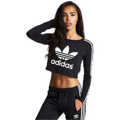 adidas Originals Paris Longsleeve Crop T-Shirt ($43) ❤ liked on Polyvore featuring tops, t-shirts, longsleeve t shirts, long sleeve crop top, long sleeve t shirt, adidas originals t shirt and adidas originals tee