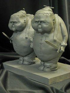 Tweedle Dee and Dum WIP Primed by Blairsculpture on DeviantArt Kintsugi, Paper Clay, Clay Art, 3d Prints, Clay Figures, Designer Toys, Heart Art, Stop Motion, Alice In Wonderland