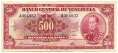 Billete de 500 Bolívares (Venezuela, 1943). Elaborado x la American Bank Note Company. Sustituyó al diseño verdi-negro de 1940.