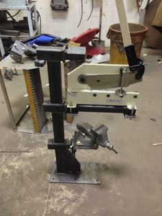 Fabrication Tool Stand by Ak_F250 -- Homemade fabrication tool stand constructed from steel plate, square tubing, and a trio of hitch receivers. http://www.homemadetools.net/homemade-fabrication-tool-stand