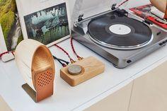 Wooden Speaker System: Walnut, Steel, Leather & Cork Base