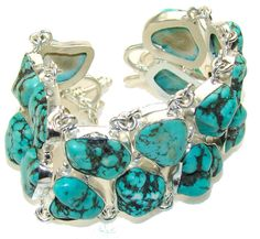 $165.50 Old Fashion!! Blue Turquoise Sterling Silver Bracelet at www.SilverRushStyle.com #bracelet #handmade #jewelry #silver #turquoise