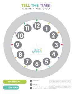 Free Printable Clock for kids Preschool Learning Activities, Preschool Math, Kids Learning, Maths, Learning Games, Educational Activities, Kindergarten, Classroom Helpers, Math Classroom