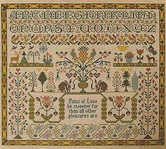 Quite a few traditional style samplers with garden boarder themes for inspiration on this webpage. http://www.sewinspiring.co.uk/acatalog/samplers_cross_stitch_kits.html#
