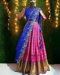 Pink and blue classic combination of kanchi look alike banaras silk lehenga paired with blue organza cutwork dupatta and a detachable lace belt. Half Saree Lehenga, Lehenga Saree Design, Lehnga Dress, Silk Lehenga, Saree Look, Lehenga Designs, Wedding Saree Blouse Designs, Pattu Saree Blouse Designs, Half Saree Designs