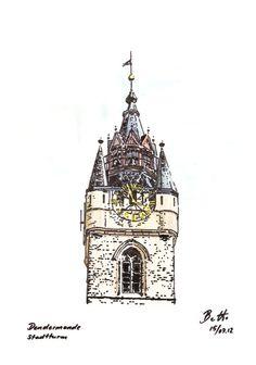 Dendermonde Stadtturm - Tusche aquarelliert, ink watercolor, encre - 21 x 30 cm
