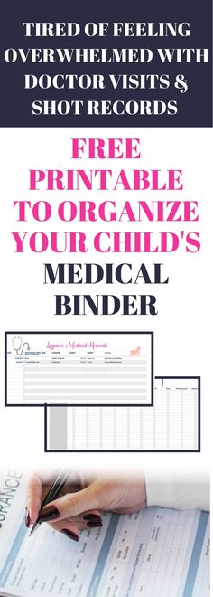 Keeping up on upcoming doctors appointment, shot records and sports physicals can become overwhelming. Then you add multiple chi… Children's Medical, Medical Laboratory, Medical Billing, Medical History, Office Organization At Work, Binder Organization, Bathroom Organization, Organizing Paperwork, Household Organization