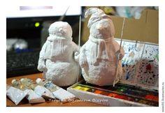 Мастер-класс: снеговик в технике ватного папье-маше - Ярмарка Мастеров - ручная работа, handmade