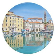 A view of the Venetian port city of Piran Dinner Plate