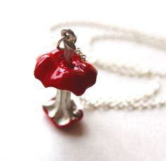 Necklace red eaten apple core pendant by Bunnys on Etsy, $40.00