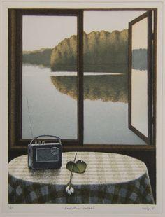 Esa Riippa (Finnish, > Kesäillan valssi 25 x 33 cm Candy Art, Kunst Poster, Contemporary Paintings, Art Boards, Art Images, New Art, Printmaking, Photo Art, Modern Art