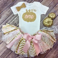 Your place to buy and sell all things handmade Pink and Gold Glitter Pumpkin Patch Birthday Outfit w/ Onesie / Shirt, Fabric Tutu, & Bow Headband, Fall Birthday Girl, Light Pink and Gold Halloween First Birthday, 1st Birthday Party For Girls, 1st Birthday Themes, Fall Birthday, Baby First Birthday, Birthday Outfits, Birthday Ideas, Glitter Birthday, Birthday Cakes