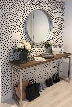 """First impressions matter! Take a page out of design playbook and make a statement even bigger than """"hello!"""" by using our Black Irregular Dots in your entryway. Polka Dot Walls, Chevron Walls, Casa Retro, Vestibule, Aesthetic Rooms, Dream Apartment, My New Room, Minimalist Home, Wall Design"""