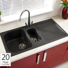 Make your kitchen stand out with a black kitchen sink from Tap Warehouse. We have black granite and ceramic kitchen sinks in stock and ready for immediate dispatch, and all come with great savings. Granite Kitchen Sinks, Composite Kitchen Sinks, Kitchen Sink Design, Composite Sinks, Updated Kitchen, New Kitchen, Kitchen Ideas, Small Basin, Old Sink