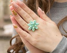 Big Blue Succulent Planter Ring Wholesale 2,5 cm Statement Succulent Ring Succulent Jewelry Wedding Bridal Birthday Gifts Jewelry