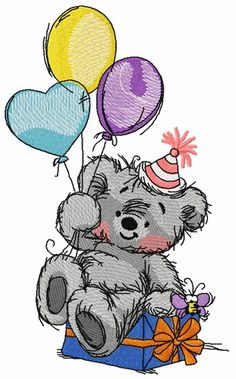 Bear's birthday 2 machine embroidery design. Machine embroidery design. www.embroideres.com