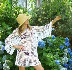 Instant download crochet pattern beach cover up tunic  Lobster Net beach cover up  for women and teens permission to sell finished product