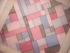 pojagi - diagonal set inside straight-grain rectangle strips for the border. #project