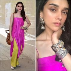 Aditi Rao Hydari's fashionable Indian Summer Look Dress Indian Style, Indian Dresses, Indian Outfits, Indian Attire, Indian Wear, Indian Designer Outfits, Designer Dresses, Kurta Designs, Western Outfits