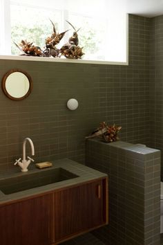 Katie Lockhart Studio Heath Ceramic Tile Bathrooms Photo by Neeve Woodward Heath Ceramics Tile, Heath Tile, Ceramic Tile Bathrooms, Ceramic Floor Tiles, Bathroom Tray, Bathroom Layout, Bathroom Sets, Shower Bathroom, Gold Bathroom