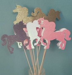 Choose colors! Set of 2 Unicorn fantasy toppers centerpieces decorations cake baby shower gender reveal birthday party favor table decor #Pink #Wedding #PinkWedding #Paper