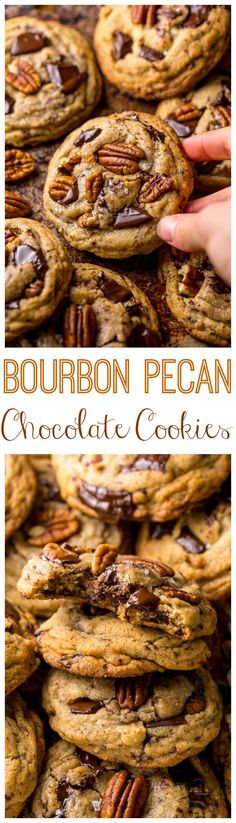 These Brown Butter Bourbon Pecan Chocolate Chunk Cookies are crunchy chewy and SO flavorful! You have to try these! These Brown Butter Bourbon Pecan Chocolate Chunk Cookies are crunchy chewy and SO flavorful! You have to try these! Cookie Desserts, Cookie Recipes, Dessert Recipes, Party Cookie Recipe, Pecan Recipes, Cookie Favors, Chocolate Chunk Cookies, Chocolate Chips, Cake Chocolate