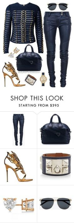"""""""Untitled #1582"""" by dnicoleg ❤ liked on Polyvore featuring Balmain, Givenchy, Giuseppe Zanotti, Hermès, Allurez, Yves Saint Laurent and Michael Kors"""