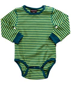 MAXOMORRA - Body à manches longues en coton bio pour bébé, Rayures Vert - VÊTEMENTS BIO/Sous-Vêtements, Body - MaMoulia