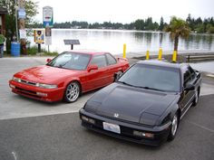 A Honda prelude INX (left) and base model prelude.