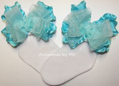 Frilly Turquoise Organza Ruffle Bow #Pageant #Socks