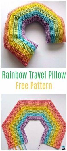 Crochet Rainbow Travel Pillow Free Pattern - Crochet Travel Neck Pillow Patterns Tutorials