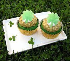 Easy Green Velvet Cupcakes   Green Velvet Cupcakes w/ (easy-to-make) gumdrop shamrocks