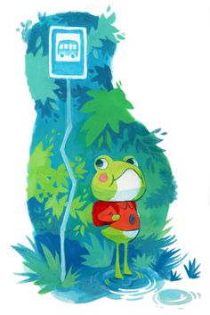 """mimiadraws: """" My scanner messed this one up a lil but! Here's a frog boy on his first day of school """" Pretty Art, Cute Art, Character Art, Character Design, Cute Drawings, Animal Drawings, Frog Illustration, Posca Art, Frog Art"""