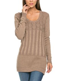Look at this Avenue Hill Mocha Scoop-Neck Sweater on #zulily today!