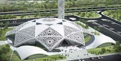 Masjid in Hamadan Iran Traveling Center irantravelingcent. Architecture Concept Drawings, Futuristic Architecture, Amazing Architecture, Contemporary Architecture, Art And Architecture, Mosque Architecture, Religious Architecture, Unusual Buildings, Beautiful Mosques